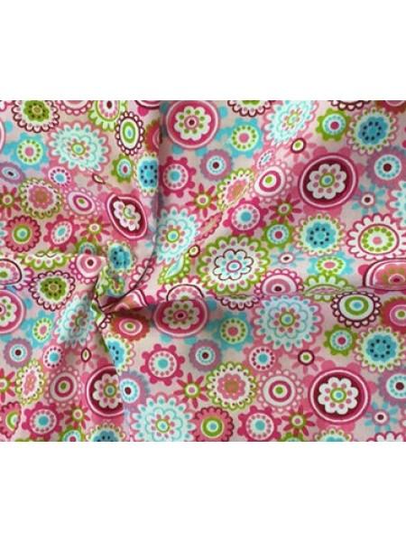 Мерный лоскут(хлопок)-цветочная мозаика на розовом,50*40см.цена за отрез