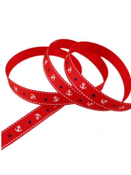 Лента репсовая с якорями,красная,1 см.цена за метр