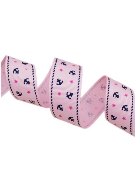 Лента репсовая с якорями,розовая,2,5см.цена за метр