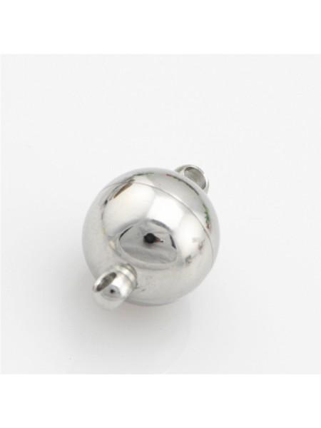 Замок магнитный для бус Шар,цв- серебро,8 мм