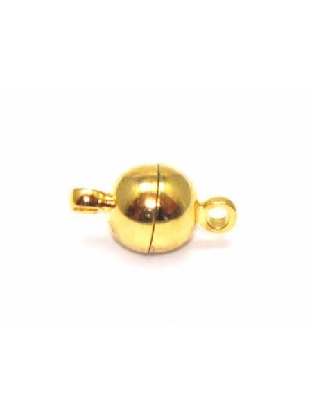 Замок магнитный для бус Шар,цв- золото,8 мм