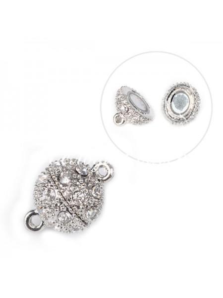 Замок магнитный для бус Шар в стразах,цв- серебро,10 мм