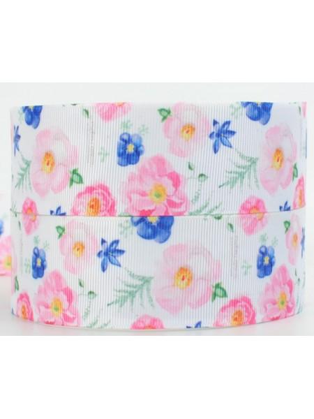 Лента репсовая Цветы,белая,2,5см.цена за 1 м