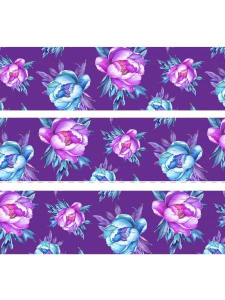 Лента репсовая Цветы,фиолетовая,2,5см,цена за 1 м