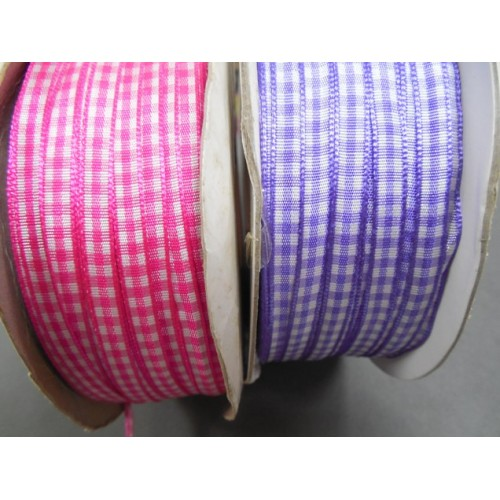 Лента в клеточку-фиолетовая,6мм, цена за 1м