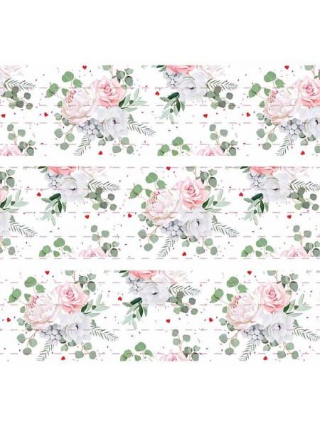 Лента репсовая Цветы,белая,2,5см,цена за 1 м