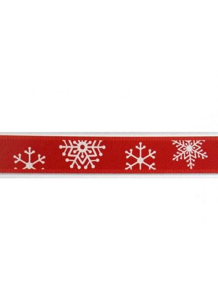 Лента атласная-новогодняя,красная, 9 мм,цена за 1 метр