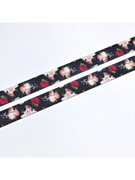 Лента репсовая Цветы,чёрная,0,9см.цена за 1 м