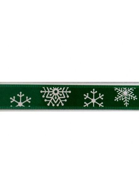 Лента атласная-новогодняя,зелёная, 9 мм,цена за 1 метр
