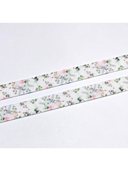 Лента репсовая Цветы,белая,0,9см.цена за 1 м