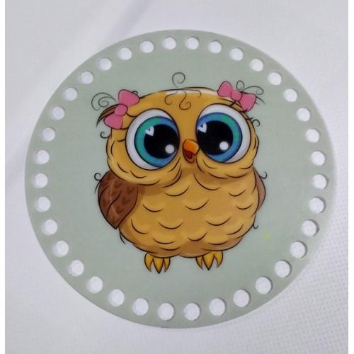 """Пластиковое донышко для корзины с рисунком,круглое,""""Сова-3"""" D-12 см"""