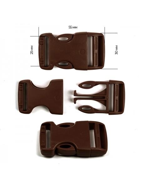 Пряжка-замок (фастекс) -25 мм, цв коричневый,цена за 1 шт