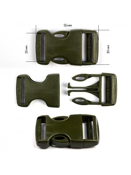 Пряжка-замок (фастекс) -25 мм, цв темный хаки,цена за 1 шт