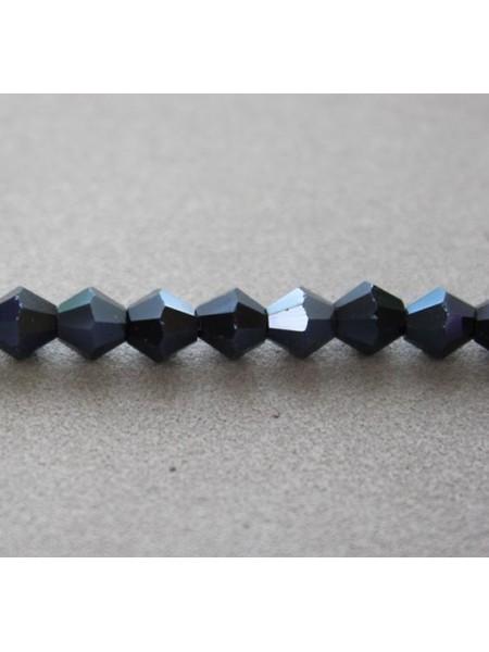 Бусина Биконус,5мм стекло,цв-№032-гематит