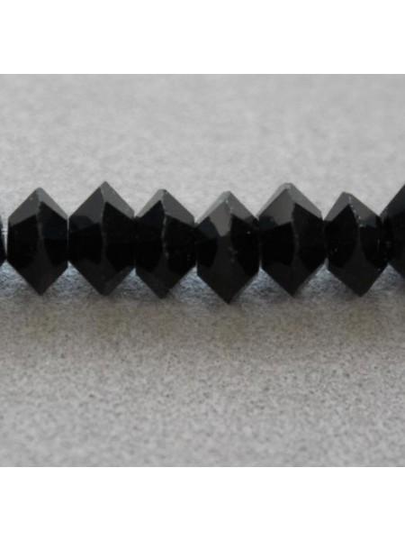 Бусина Биконус усечённый,6мм стекло,цв-№02-чёрный