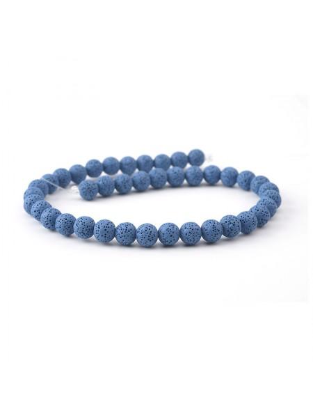 Бусины из лавы.цв-синий,12 мм, цена за 4 шт