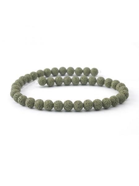 Бусины из лавы.цв-тёмно-зелёный,12 мм, цена за 4 шт