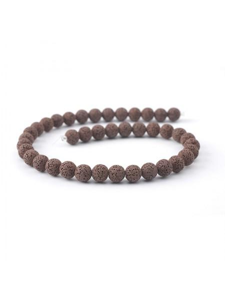 Бусины из лавы.цв-тёмно-коричневый,12 мм, цена за 4 шт