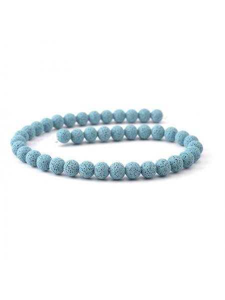 Бусины из лавы.цв-голубой,12 мм, цена за 4 шт