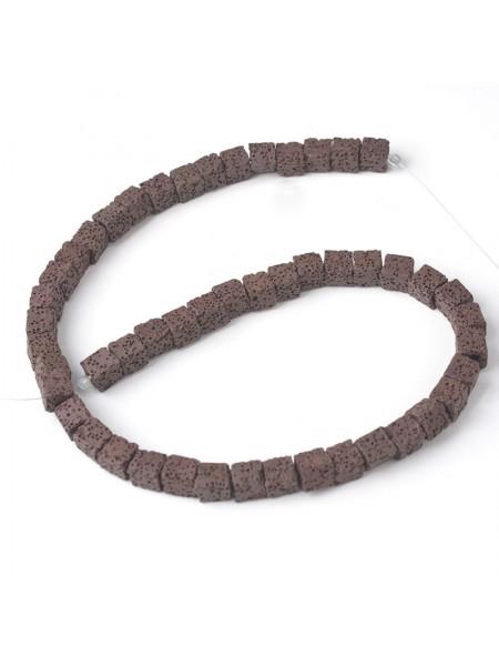 Бусины из лавы.цв-тёмно-коричневый,квадрат 10 мм, цена за 4 шт