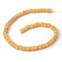 Бусины из лавы.цв-жёлтый-тёмный,квадрат 10 мм, цена за 4 шт