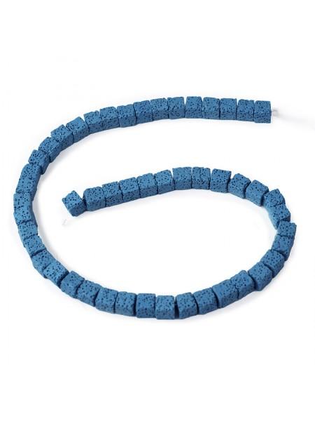 Бусины из лавы.цв-синий,квадрат 10 мм, цена за 4 шт