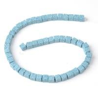 Бусины из лавы.цв-голубой,квадрат 10 мм, цена за 4 шт