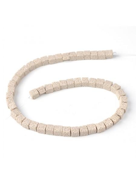 Бусины из лавы.цв-св-беж,квадрат 10 мм, цена за 4 шт