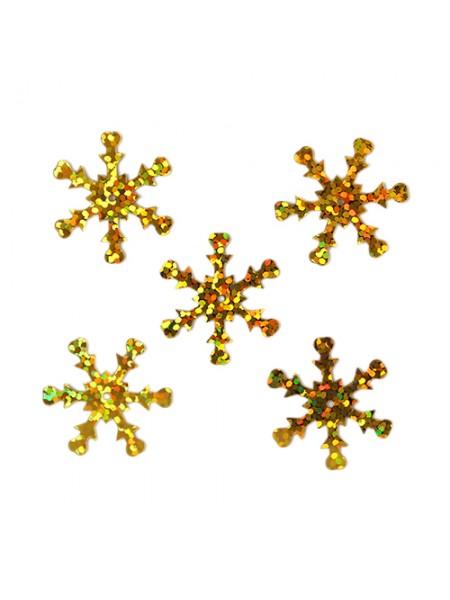 Пайетки 'снежинки',цв- золото голограмма,13мм- А20-6