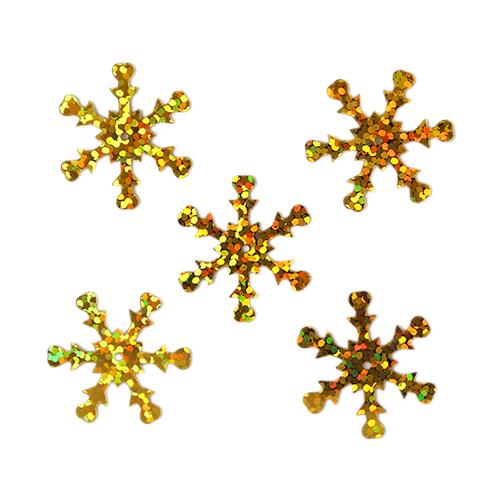 Пайетки 'снежинки',цв- золото голограмма- 24ММ, А20-76