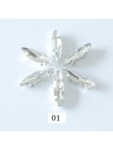 Пришивные стразы в серебрянных цапах ,стекло № 01,лодочка,4*15мм.цена за 1 шт