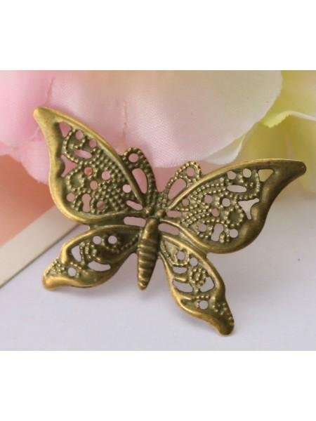 Декоративный элемент,бабочка филигрань,цв-бронза.40*26мм,цена за 1 шт