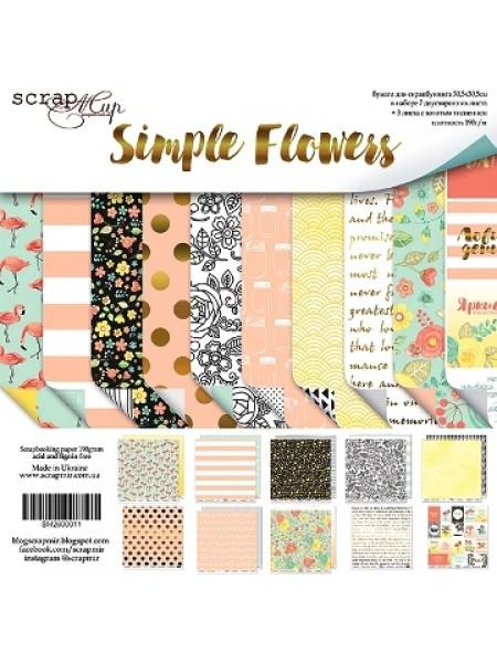 Набор двусторонней бумаги 20х20см от Scrapmir-Simple Flowers
