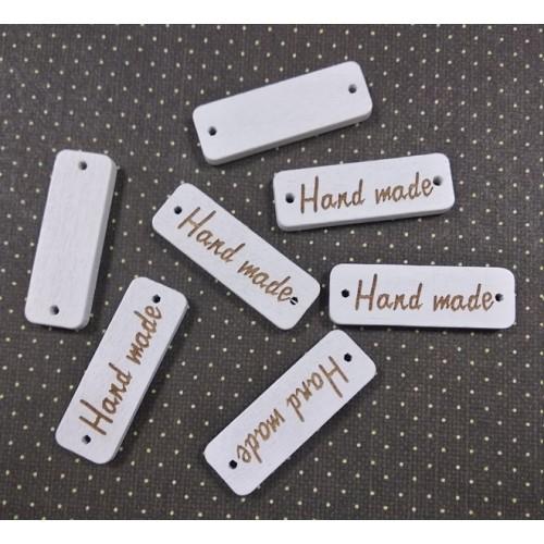Бирка деревянная Hand Made,10*30мм,белая,цена за 1 шт