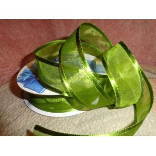 Органза с атласным краем,зелёная,25мм,цена за метр
