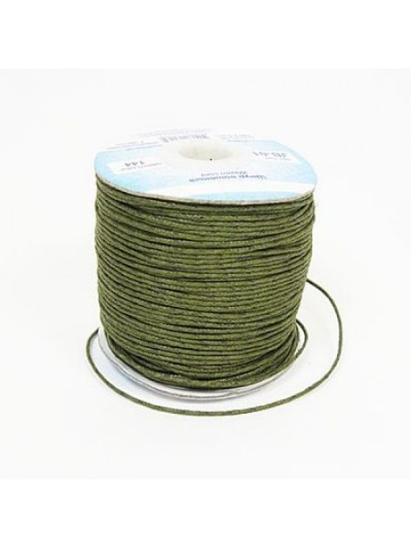 Вощеный шнур,1 мм. цвет хаки,цена за 1 метр