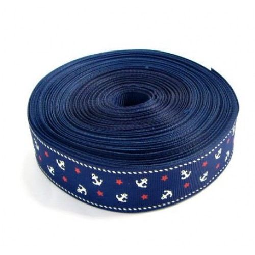 Лента репсовая с якорями,синяя,2,5см.цена за метр