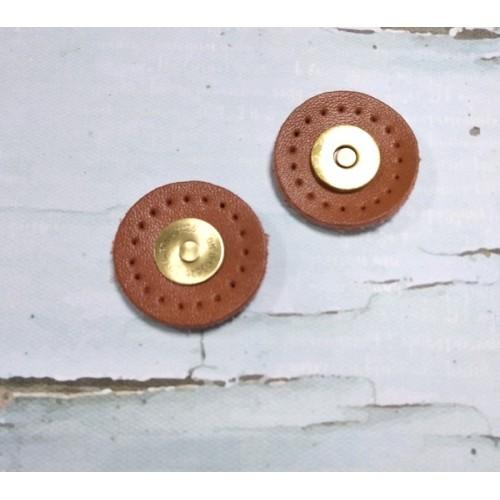Магнитная кнопка с креплением на коже,цв-коричневый
