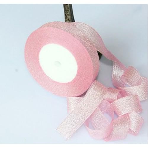 Металлизированная тесьма,цв-розовый,2см,цена за 1 метр