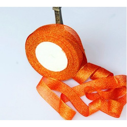 Металлизированная тесьма,цв-оранжевый,2см,цена за 1 метр