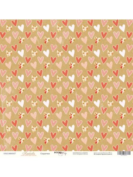 Лист односторонней бумаги 30x30 от Scrapmir Сердечки из коллекции Любовь