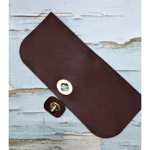 Клапан-крышка для сумочки с поворотным замком,темно-коричневый,20*10см