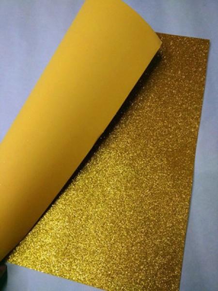 Глиттерный фоамиран, А4,цв-золотой