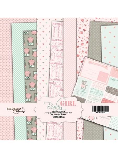 Набор односторонней бумаги 30х30см от Scrapmir-Baby Girl