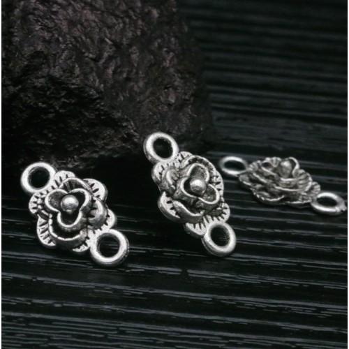 Коннектор Роза, цв-серебро,18*10мм,цена за 1 шт
