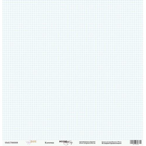 Лист односторонней бумаги 30x30 от Scrapmir Клеточка из коллекции Baby Boy