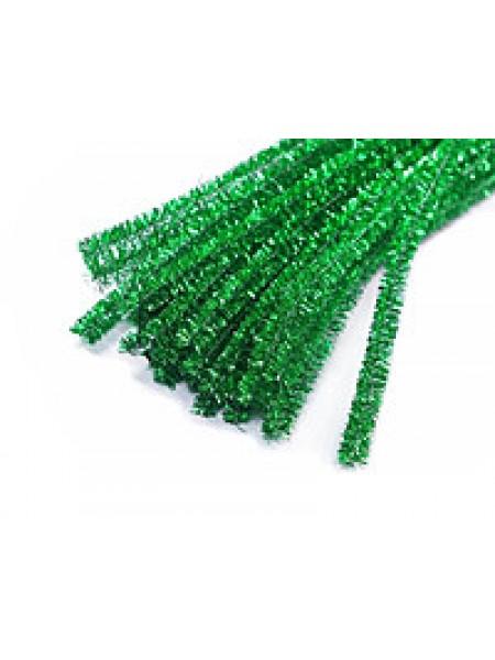 Синельная проволока(шенил),зелёный металлик,цена за 10 шт