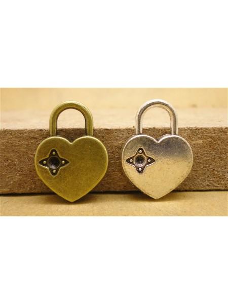Подвеска Замок-сердечко  ,бронза,цена за 1 шт