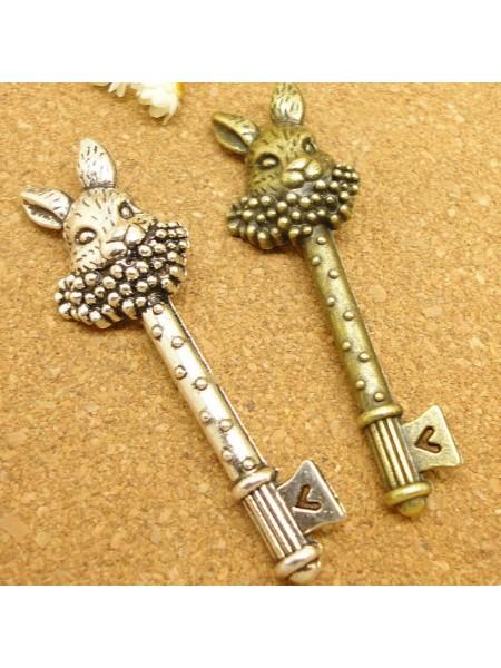 Подвеска Ключ-кролик ,бронза,цена за 1 шт