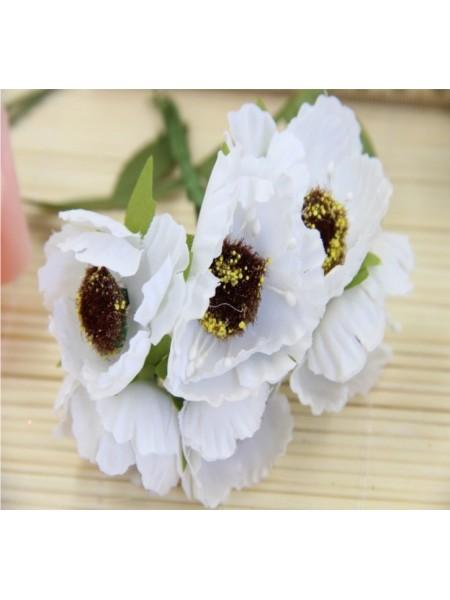 Цветок мака,цв-белый, цена за 1 шт